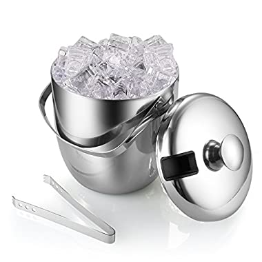 Ice Bucket, Stainless Steel Ice Bucket, Ice Bucket Barware Set With Lids, Tongs And Carry Handle, 3 Liter(0.8 Gallon), Silver