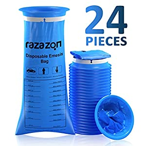Emesis Vomit Bags Pack of 24-1000ml for Car Travel, Aircraft, Taxi Drivers, Morning and Motion Sickness Disposable Blue Barf Bags – RAZAZON