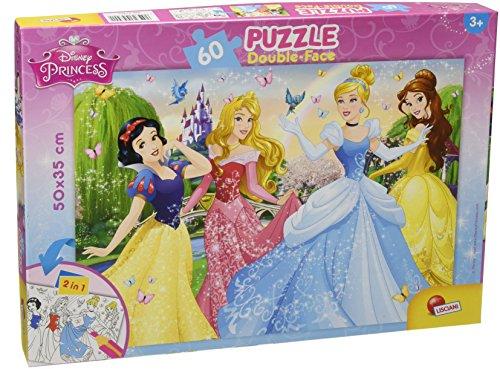 Lisciani Puzzle para niños de 60 piezas 2 en 1, Doble Cara con reverso para colorear - Disney Princesas 47901