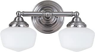 Sea Gull Lighting 44437-962 Academy - Two Light Bath Bar, Brushed Nickel Finish with Satin White Glass