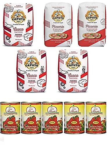 Testpaket Caputo Pizzeria Pizzamehl Mehl ( 2 x 1Kg ) + Caputo Cuoco Pizzamehl Mehl ( 3 x 1Kg ) + Zia Rosa DOP Pomodoro San Marzano Tomate aus Kampanien Dose von 400g 3x 400g