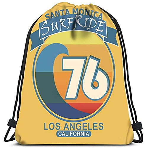 RJ Unique Mochila Cordónes,Surf Santa Mónica California Surf Estilo Retro Emblema Yoga Runner Daypack Mochila Bolsas