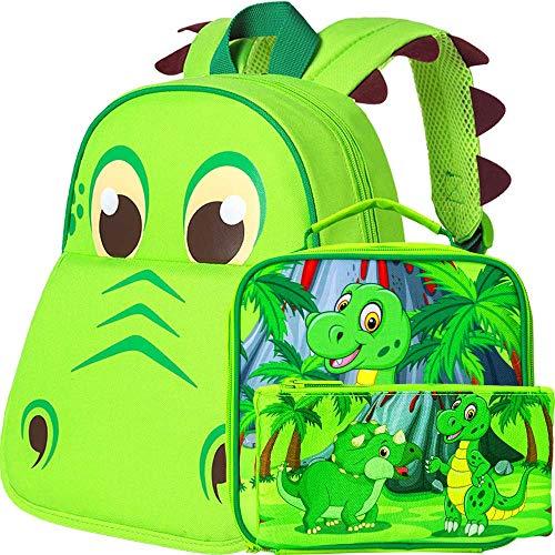 AGSDON 幼児 バックパック と ランチ バッグ 就学前 バッグ セット ワンサイズ 恐竜 バックパック ランチ バッグ セット付き ボイス用