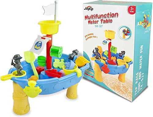 JoyKip Mesa de Juegos Pirata para Actividades acuáticas y de Arena al Aire Libre con diseño de Barco - Juguete Divertido de Verano con Salpicaduras - Incluye Accesorios, Palas, Botes y Palas, etc.