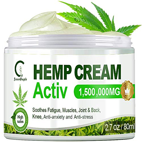 GPGP GreenPeople Hemp Pain Relief Cream - High Strength Hemp Oil Formula Pain Relief Cream for Relieve The Back, Knees, Hands, Neck, Shoulder Pain, Muscle Soreness, Joint Inflammation - 2.7oz