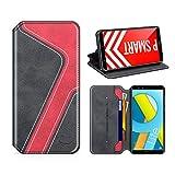 MOBESV Smiley Honor 9 Lite Hülle Leder, Huawei P SMART Tasche Lederhülle/Wallet Hülle/Ledertasche Handyhülle/Schutzhülle mit Kartenfach für Honor 9 Lite/Huawei P SMART, Schwarz/Rot