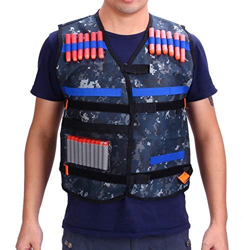 Yosoo Taktische Weste Camouflage Kinder Elite + 50 Stück Dartpfeile Ball, Blau, Pistole für Nerf N-Strike Elite Series