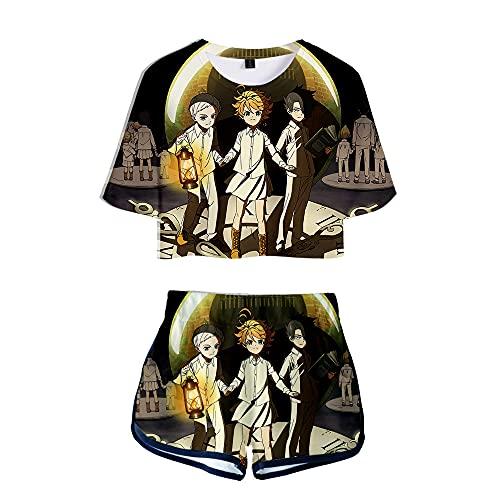 NLJ-lug The Promised Neverland Camiseta Corta para Mujer, Conjunto De Pantalones Cortos,...