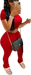 Womens 2 Piece Sports Outfits - Solid Color Short Sleeve Crop Top + Ruched Long Pants Tracksuit Sweatsuit Set