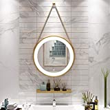 espejo de baño montado en la Pared Dorado/Negro LED táctil con luz Redondo Iluminado para Hotel Decorativo para Maquillaje 40 cm, 50 cm, 60 cm, 70 cm, 80 cm