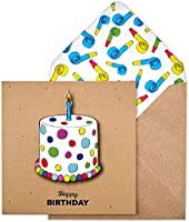 Birthday Cake Handmade Greeting Card with Party Blowers Envelope