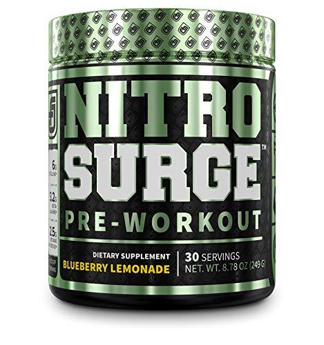 NITROSURGE Pre Workout Supplement - Endless Energy, Instant Strength Gains, Clear Focus, Intense Pumps - Nitric Oxide Booster & Powerful Preworkout Energy Powder - 30 Servings, Blueberry Lemonade