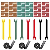 Hikinlichi 53 Pack Cable Organizers Cable Labels (42 PCS) Reusable Cable Straps Cable Fastening Ties (8 PCS) Cord Management Keeper Holder 40 Inches Each Cable Straps (3 Rolls) Assorted Colors