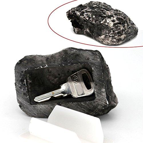 MIONI Hide-a-Spare-Key Fake Rock - Se ve y se siente como piedra real - Seguro para jardín o patio al aire libre, Geocaching