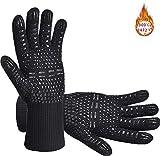 Senders Grillhandschuhe, Ofenhandschuhe Hitzebeständige bis zu 800 ° C Grill Handschuhe Universalgröße Kochhandschuhe Backhandschuhe rutschfeste mit Silikon für...