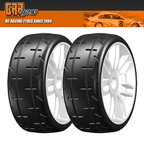 GRP GTJ01-S7 1:8 GT T01 REVO S7 MediumHard Mounted Tires Spoked White Wheel (2)