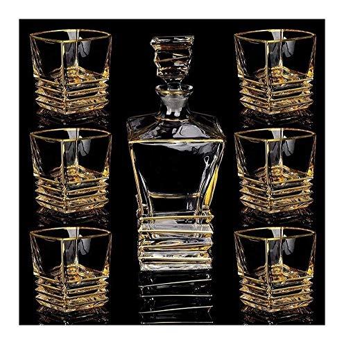 KAYBELE Decantador de Whisky Whisky Decanter y Gafas fijó el Cristal Libre del Plomo con 6 Vidrio de Cristal para los espíritus Bourbon o Scotch Box de Regalo Elegante única