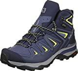 Salomon Women's X Ultra 3 Mid GTX Hiking Boots, Crown Blue/Evening Blue/Sunny Lime, 8