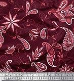 Soimoi Rot Baumwoll-Voile Stoff Blumen & Paisley ethnisch