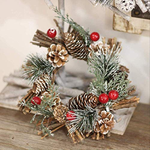 Handmade Candle Holder Pine Cone Berry Wreath Farmhouse Country Candle Christmas Decoration 20 cm