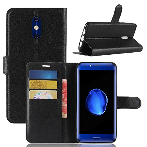 Tasche für Doogee BL5000 Hülle, Ycloud PU Kunstleder Ledertasche Flip Cover Wallet Hülle Handyhülle mit Stand Function Credit Card Slots Bookstyle Purse Design schwarz