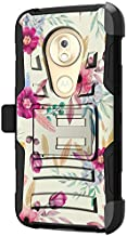 TurtleArmor   Compatible with Motorola Moto G7 Play Case   G7 Play Case   XT1952 [Hyper Shock] Fitted Armor Holster Belt Clip Hybrid Cover Stand Shock Protective Case - Flower 5