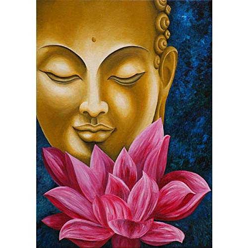 龙王 Diamond Painting Kit Buddha Head+Lotus Full Round Rhinestone Wall Picture