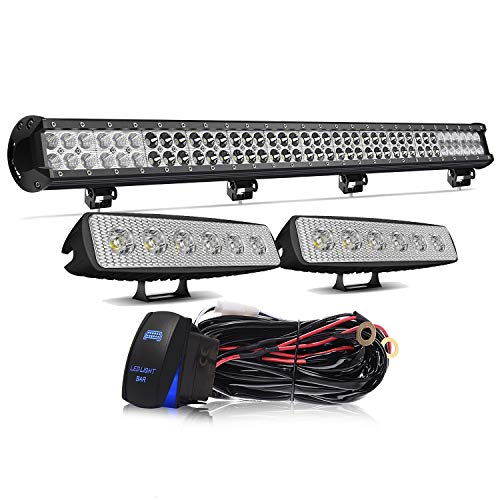 KEENAXIS 36 Inch 234W LED Spot Flood Combo Bar 2PCS + 6Inch 18W LED Work Lights Driving Lights with Rocker Switch Wiring Harness for Ford Jeep Truck Chevy Toyota Tacoma GMC ATV ,1Year Warranty