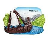 zamonji Viking Ship Museum Noruega 3D Resina Imán para Nevera, Regalo de Recuerdo Turístico, Hogar y Cocina Decoración