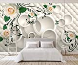 Papel Pintado Fotomurales Patrón De Rosa Circulo Bolso Blanco Suave Decoración de Paredes Moderna 3d Salón Dormitorio Despacho Pasillo Murales
