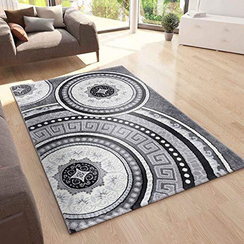 VIMODA Teppich Designer Kurzflor Wohnzimmer mit Glitzer Medaillon Used Optik in Grau, Maße:160x230 cm