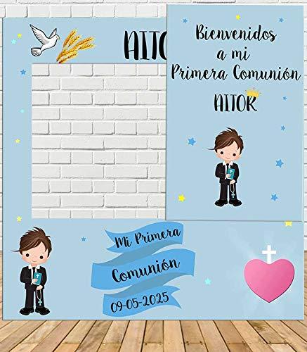 Tu Fiesta Mola Mazo Photocall y Cartel de Comunión Niño Azul 100x100cm | Detalles Comunión | Photocall Económico y Original | Divertidas Fotos con Nuestro photocall de comunión para niños