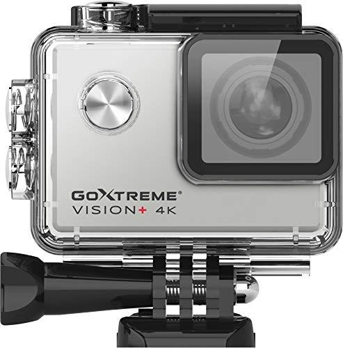 Easypix \'Vision+\' 4K Ultra HD Action Cam, 4K @30fps, 5 cm (2,0 Zoll) Touchscreen, 170° Weitwinkel, wasserfest bis 30 m, 12 MP Sensor, Silber