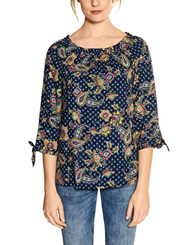 Cecil Damen TOS Carmen Print Blouse Bluse, deep Blue, Large