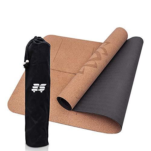 B&S Yogamatte aus Kork - 3mm - umweltfreundlich & rutschfest - ideale Dämpfung für Deine Gelenke - dünn & leicht - mit Tasche - die perfekte Matte für Zuhause oder Unterwegs