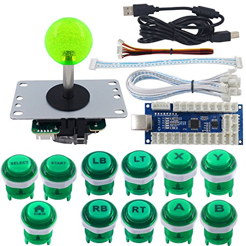 SJ@JX Arcade Game Stick DIY Kit LED Buttons with Logo 8 Way Joystick USB Encoder Cable Controller for PC PS3 PS2 MAME Raspberry Pi Green