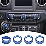 JeCar Air Conditioner Radio Switch Knob Cover & Headlight Knob Cover Aluminum Alloy AC Button Trims for 2018-2021 Jeep Wrangler JL JLU & 2020-2021 Jeep Gladiator, Blue