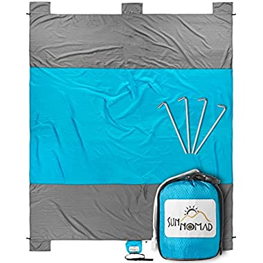 Sun Nomad Ripstop Beach & Picnic Blanket - Super Sand Proof - XXL Oversized Family Mat - Cool Unique Present Idea, for Him, Her, Men, Women & Kids - Best Camping Present & Top Gift for Outdoor Lovers
