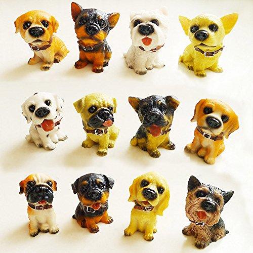 12 pour chien Puppy Pet Mini Décoration Figurine Statue en résine détaillée à collectionner Boîte Cadeau