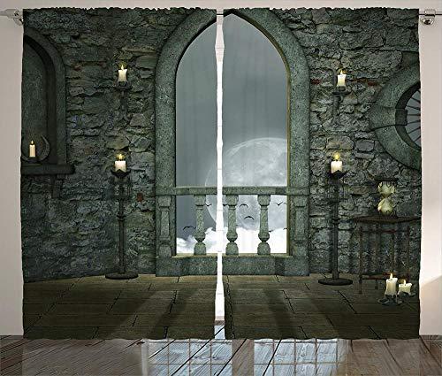 Waple Cortinas opacas ojete para sala de estar Cortinas góticas, luna llena pájaro cuento de hadas fantasía antiguo castillo balcón 170*200cm Cortinas Opacas 3D Cortinas De Salon En Poliéster para Hab