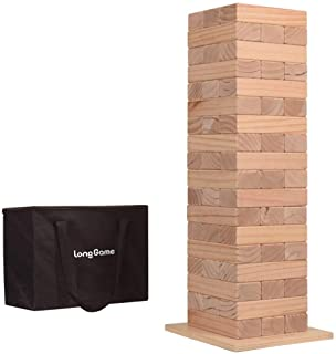Outdoor Giant Tumbling Tower Games for Kids and Adults Jumbo Wood Stacking Lawn Yard Game with Carry Bag and Board 7 x 2.4...