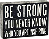 Primitives by Kathy Pinstripe Trimmed Box Sign, 8 x 6-Inches, Be Strong