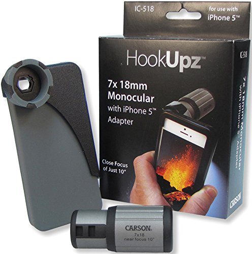 Carson HookUpz iPhone 4/4S/5/5S Adapter with Close Focus 7x18mm Monocular (IC-518)