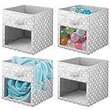 mDesign Juego de 4 cajas organizadoras de tela – Organizador de armario para ropa de bebé, mantas, etc. – Caja de almacenaje de lunares con asa y ventanilla – lunares gris/blanco