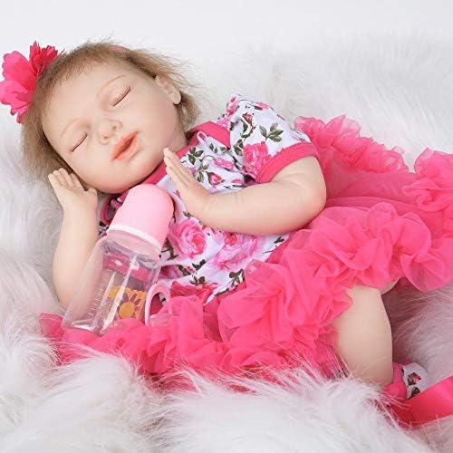Hongge Reborn Baby Doll,Volle Silikon Vinyl Reborn Baby Puppe Realistische mädchen Babys Puppen 22 Zoll 55cm Lebensechte Prinzessin Kinder Spielzeug Kinder Geburtstagsgeschenk