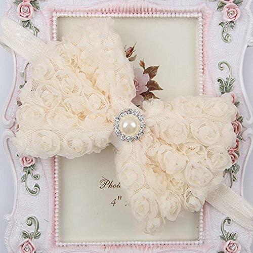 qwertyuio Accesorios para El Cabello para Mujeres Vintage Girls Pearl Double Layer Rose Flowers Bowknot Diadema Headwear Niños Niños Banda para El Cabello Accesorios para La Cabeza