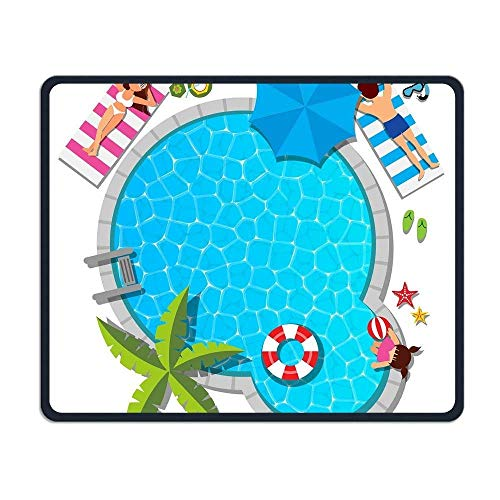 Gaming-Mauspad, Mauspads Young Family Relaxing at Swimming Pool for Summer Personality Mouse Pad 25 x 30cm with Design,with Stitched Edges,Non Slip Rubber G Mouse Pad