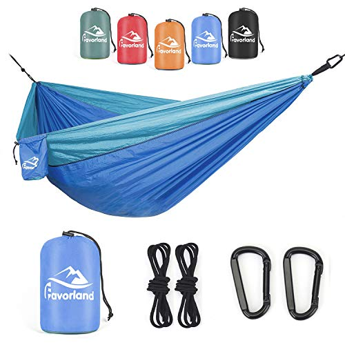 Favorland Camping Hammock for Hiking, Backpacking, Travel, Beach, Yard - Lightweight & Portable with Straps & Steel Carabiners Nylon (Blue)