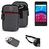 K-S-Trade® Gürtel-Tasche Für Archos Core 50 Handy-Tasche Schutz-hülle Grau Zusatzfächer 1x