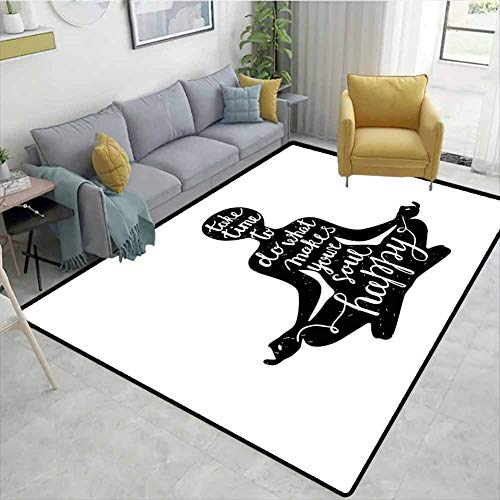 Fantastic Deal! Bigdatastore Plaid Area Rug, Black Silhouette with Quote About Time and Soul Inspira...